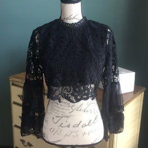 Tops - NWOT Black lace top